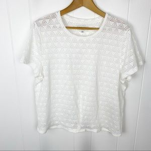Madewell texture & thread•white eyelet top